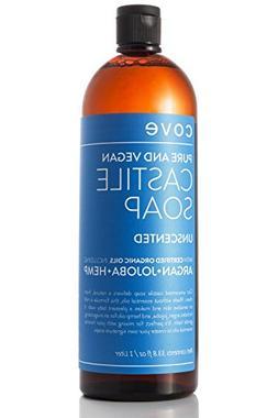 Cove Castile Soap - Unscented 33.8 oz / 1 Liter - Organic Ar