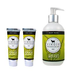 Dionis Goat Milk Body Lotion and Hand Cream 3 Piece Gift Set