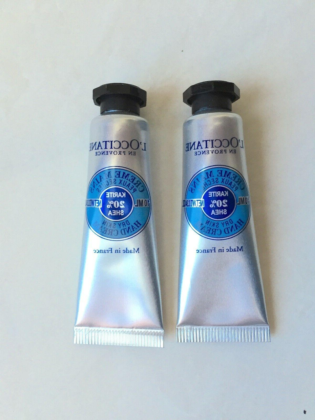 2 x L'Occitane Cream Mains Dry Skin Hand Cream 0.34oz./10ml.