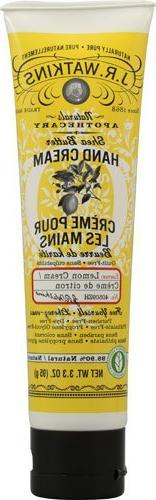 J.R. Watkins: Shea Butter Hand Cream, Lemon 3.3 oz