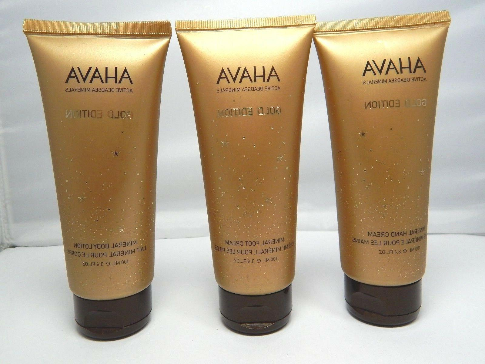 AHAVA Gold Edition Mineral Body Lotion, Hand Cream & Foot Cr