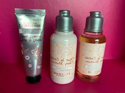 L'Occitane Cherry Blossom Set of 3 Hand Cream Shower Gel Lot
