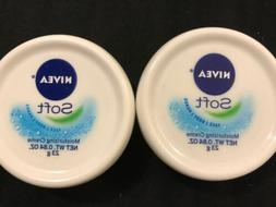 New NIVEA SOFT Moisturizing Creme Lot of 2 travel size .84 o