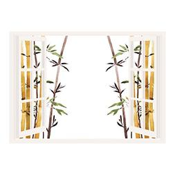 SCOCICI Wall Mural, Window Frame Mural/Bamboo House Decor,Ba